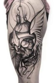 有设计感的暗黑灰线条纹身图案