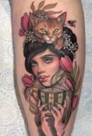 古典风格的欧美女郎纹身图案