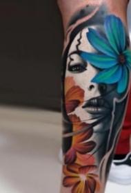 包臂和小腿的欧美写实人物纹身图案