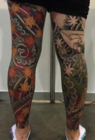 日式传统的花腿纹身图案欣赏