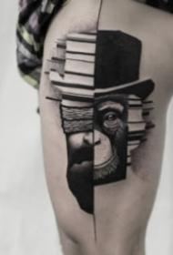 抽象感觉的身黑色点刺纹身作品