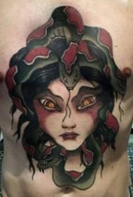 一组蛇发美杜莎女郎纹身图案