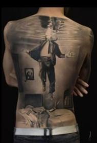 9张霸气的欧美大满背写实黑灰纹身图案