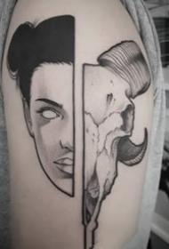 两幅面孔拼接组成的创意纹身图