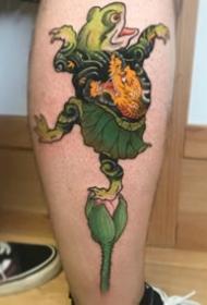 可爱的传统日式彩色小纹身图案