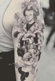 9张很漂亮的一组艺伎纹身图案