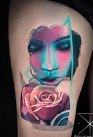 抽象与写实相结合的美女人像纹身图案