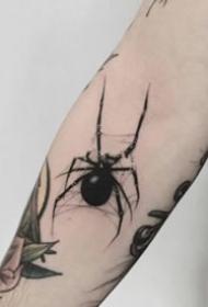 好看的一组黑灰小蜘蛛纹身图案