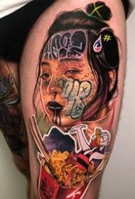 涂鸦风格的创意人物肖像纹身图案