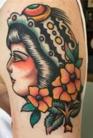 old school风格的一组欧美女郎纹身图案