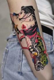 日式好看的一组暗黑女郎纹身图案