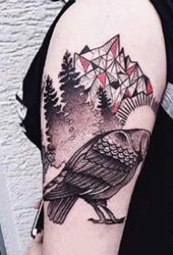 大臂腿部上个性动物纹身图案