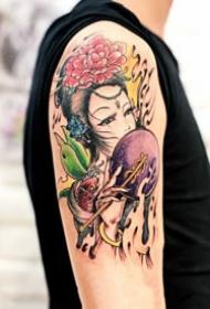 不同风格的艺伎纹身图案欣赏
