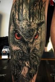 黑暗写实的猫头鹰纹身图案大全