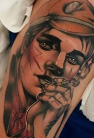 欧式新传统的人物肖像画纹身图案