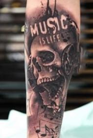 9张暗黑写实的骷髅纹身图案大全