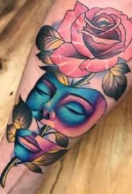五彩斑斓的手臂和腿部彩色纹身图案