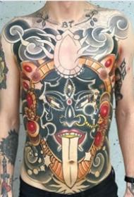 school风格的大满背纹身作品图案