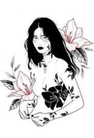 女郎花朵结合的黑灰纹身手稿图案