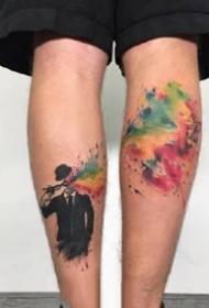 垃圾波尔卡风格的水彩纹身图案