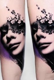 深黑色的一组水墨创意纹身图案
