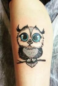 简约可爱的猫头鹰纹身图案大全