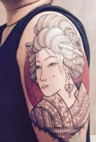 一组个性的日式传统艺伎纹身图案