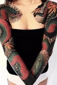 9张女性纹的大花臂纹身图案