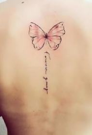 一组美女的蝴蝶纹身图案大全
