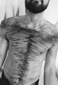 凌乱线条的抽象艺术纹身图案