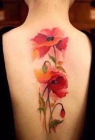 18张红色艳丽的花朵纹身图案