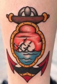 old school风格的船锚纹身图案