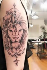 有设计感的线条狮子纹身图案大全