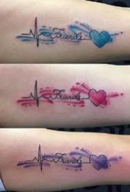 英文字母点缀水彩的唯美纹身图案