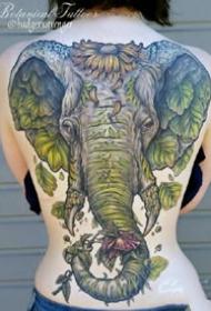 关于大象和象神的纹身图案大全