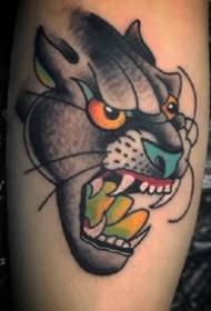 oldschool风格霸气的豹子头纹身图案