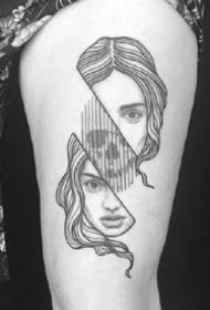 有创意的黑灰几何线条纹身图案