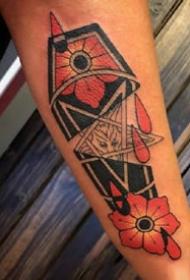 school风格红色的欧美棺木纹身图案
