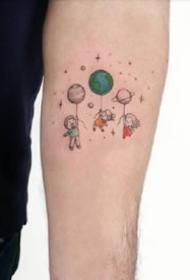 充满童趣的彩图卡通小纹身图案