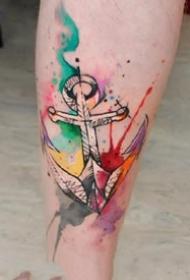 女士漂亮的水彩涂抹纹身图案