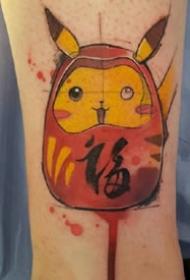 卡哇伊卡通风格的水彩纹身图案
