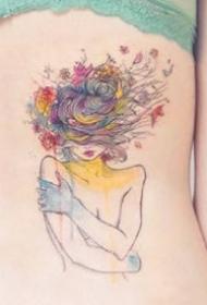 一组水彩色的女孩纹身图案