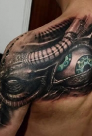科幻色彩的3d机械纹身纹身图案