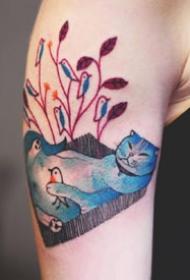 一组彩色的猫喵纹身图案