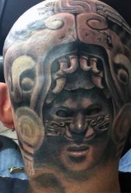 个性十足的男生头部纹身图案