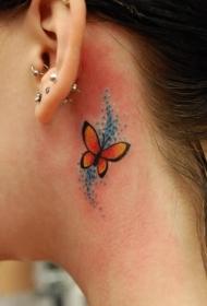 纹在耳朵旁边的极简创意的小纹身图案