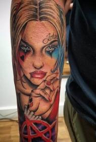 女生人物纹身图案 反叛的人物肖像小丑女纹身图案