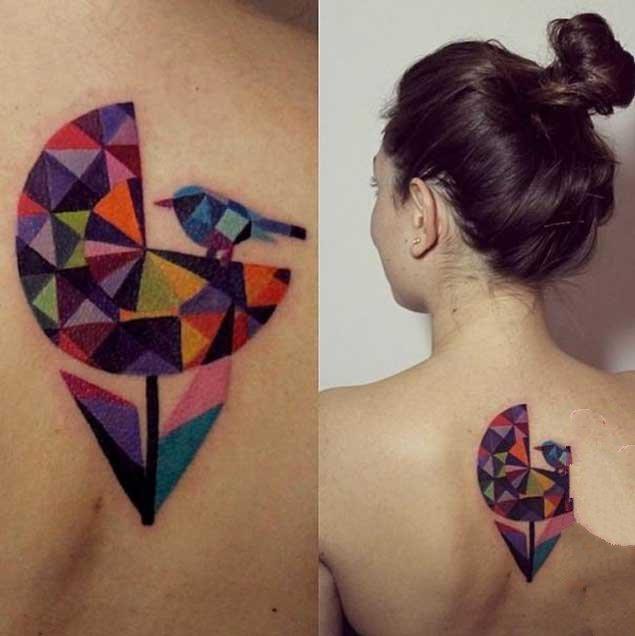 璀璨夺目的几何钻石纹身图案