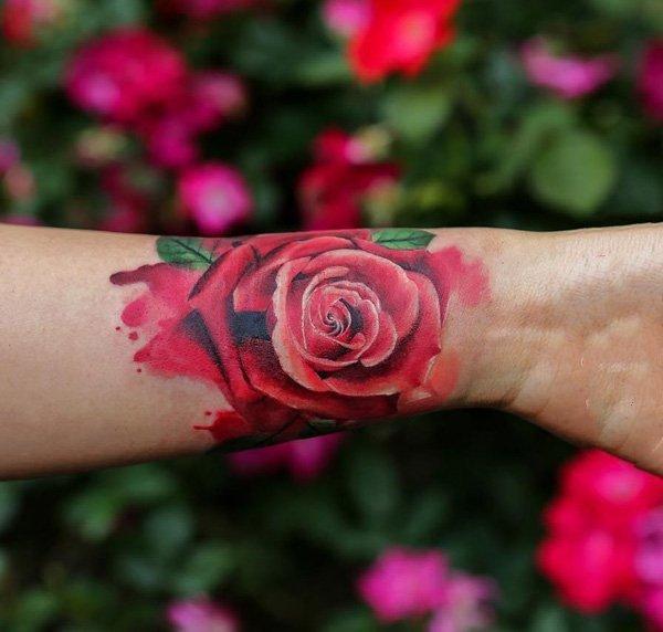 玫瑰纹身图   美艳欲滴的玫瑰花纹身图案