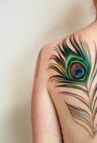 3d羽毛纹身 轻柔的彩色创意羽毛纹身图案